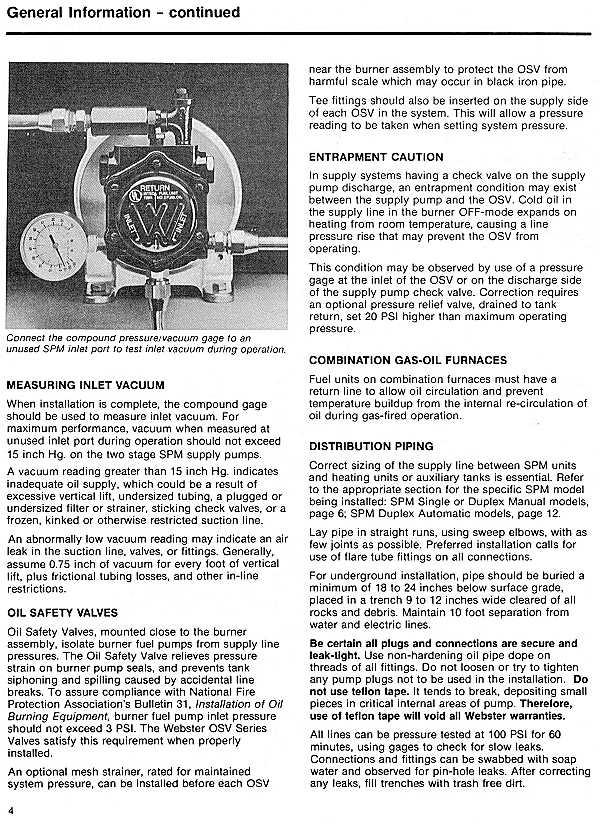 Websterâ Fuel Pump & Valves – Documentation
